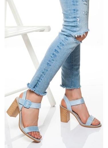 Derithy Derithy-Klasik Topuklu Ayakkabı-Mavi Süet Mavi